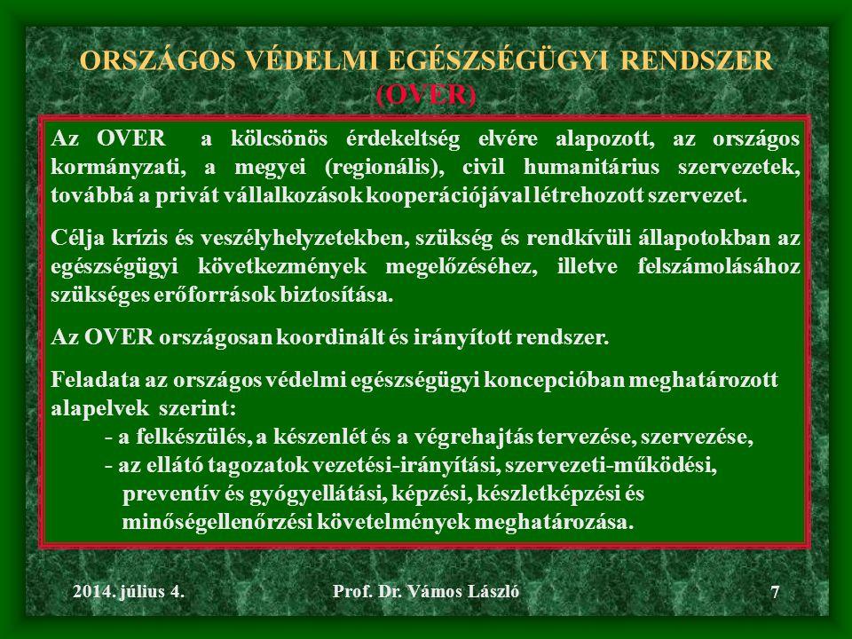 ORSZÁGOS VÉDELMI EGÉSZSÉGÜGYI RENDSZER (OVER)