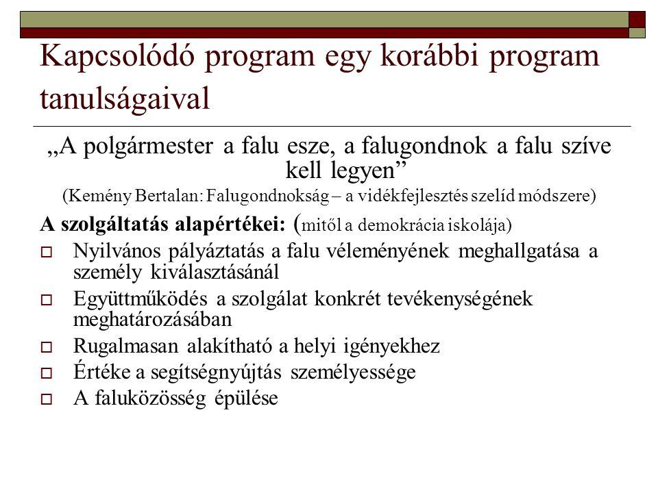 Kapcsolódó program egy korábbi program tanulságaival
