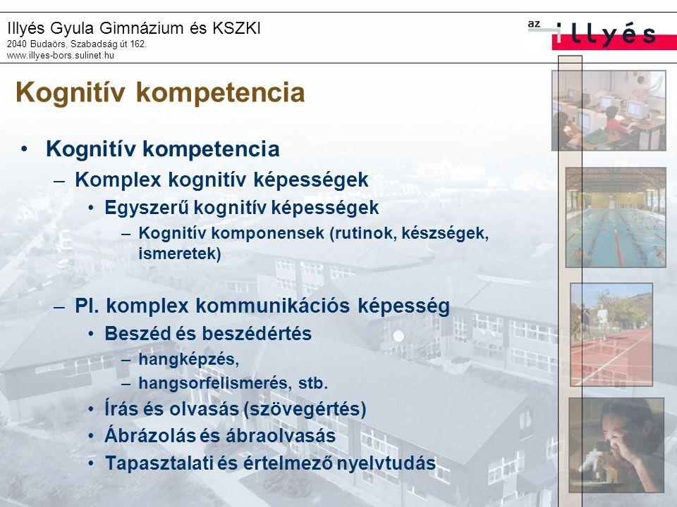 Kognitív kompetencia Kognitív kompetencia Komplex kognitív képességek
