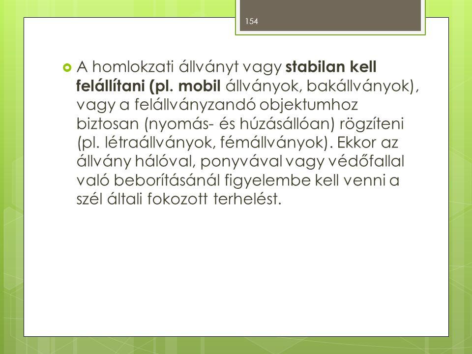 A homlokzati állványt vagy stabilan kell felállítani (pl