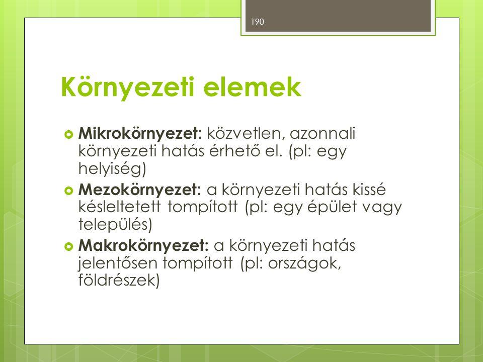 Környezeti elemek Mikrokörnyezet: közvetlen, azonnali környezeti hatás érhető el. (pl: egy helyiség)