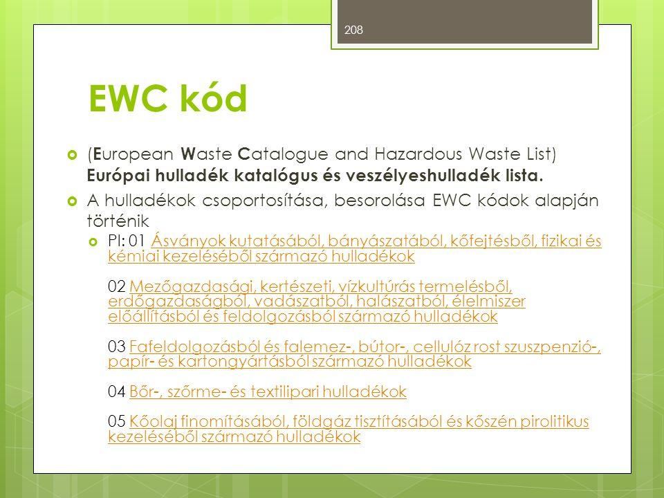 EWC kód (European Waste Catalogue and Hazardous Waste List) Európai hulladék katalógus és veszélyeshulladék lista.