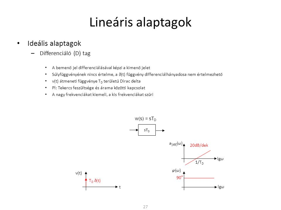 Lineáris alaptagok Ideális alaptagok Differenciáló (D) tag
