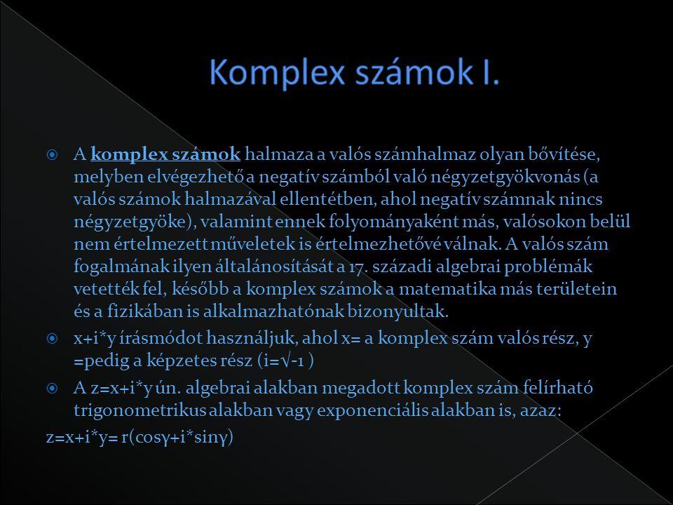 Komplex számok I.