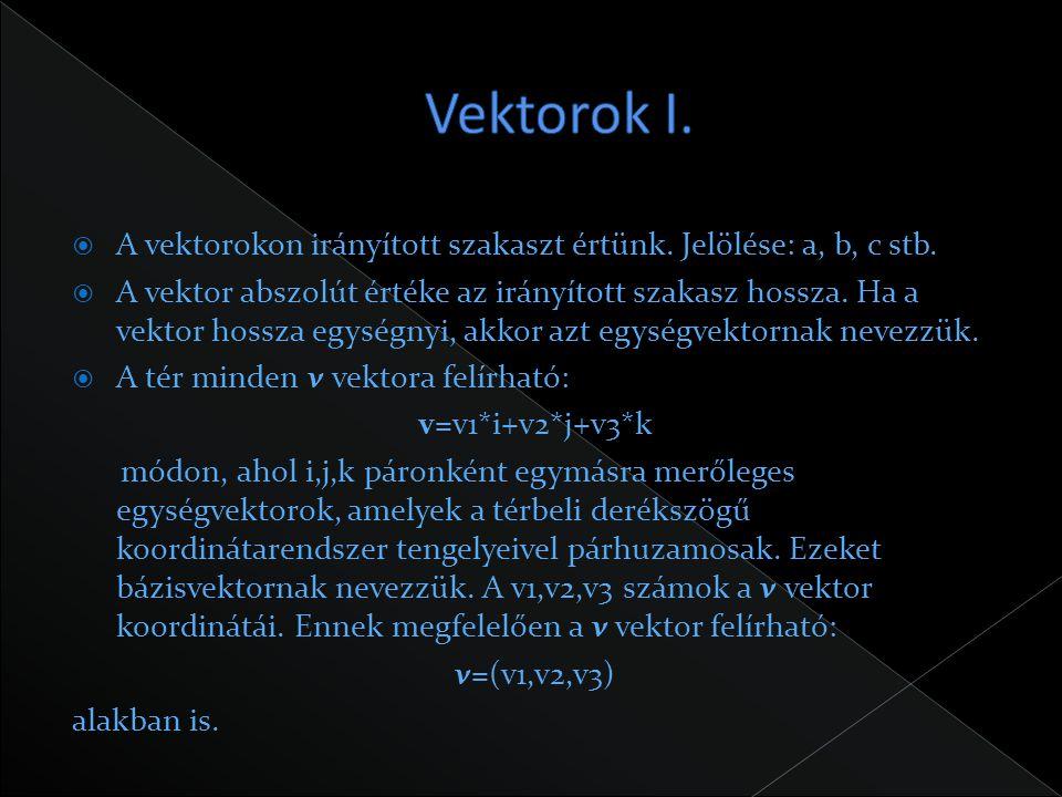 Vektorok I. A vektorokon irányított szakaszt értünk. Jelölése: a, b, c stb.