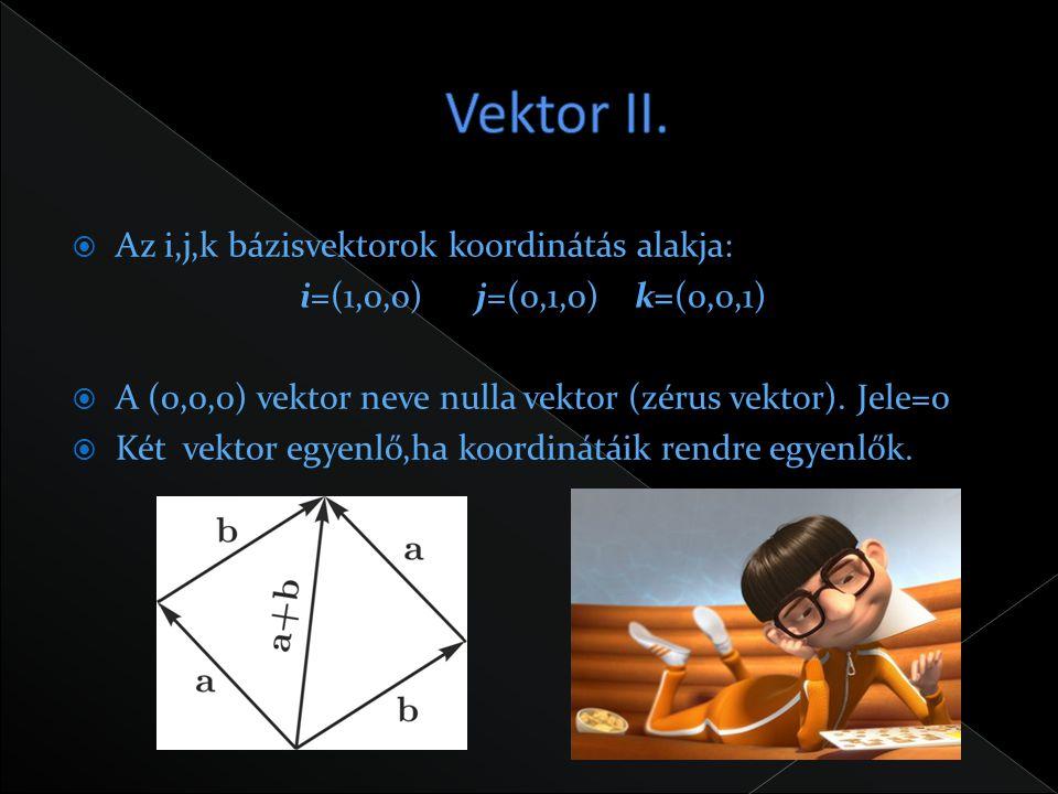 Vektor II. Az i,j,k bázisvektorok koordinátás alakja: