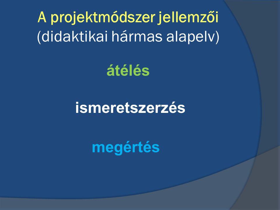 A projektmódszer jellemzői (didaktikai hármas alapelv)