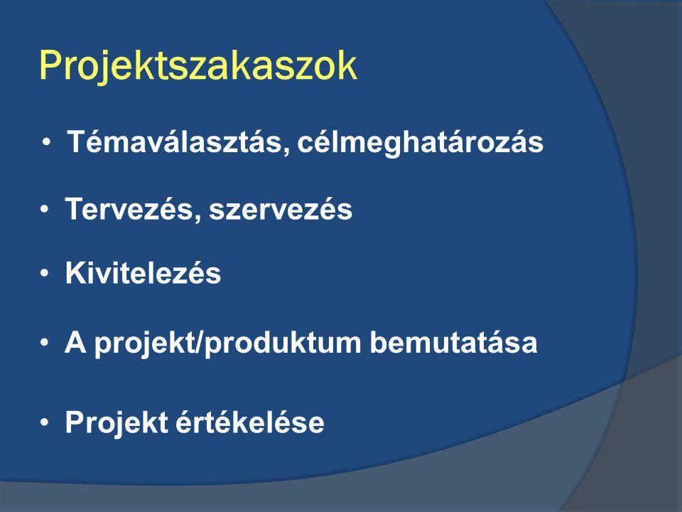 Projektszakaszok Témaválasztás, célmeghatározás Tervezés, szervezés