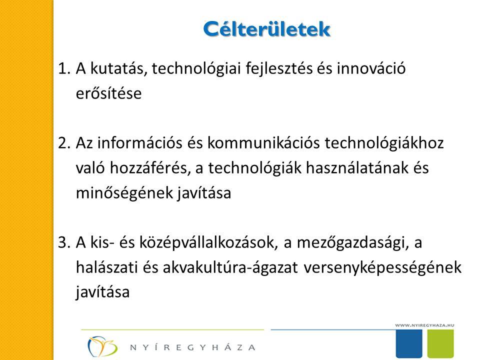 Célterületek A kutatás, technológiai fejlesztés és innováció erősítése
