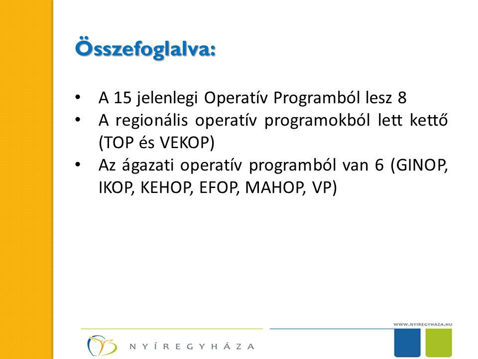 Összefoglalva: A 15 jelenlegi Operatív Programból lesz 8