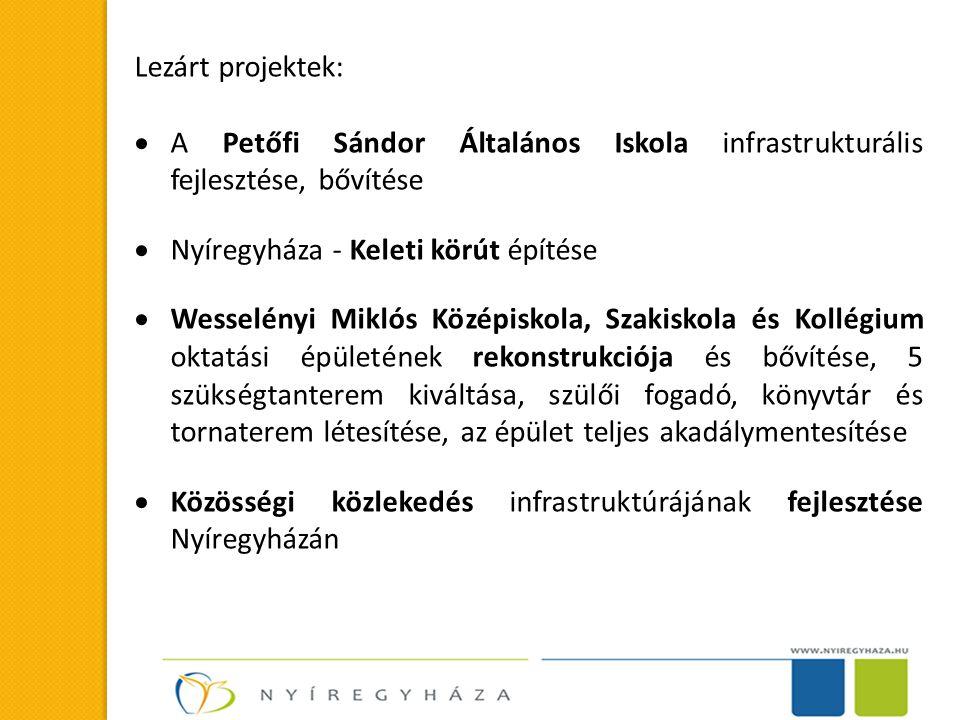 Lezárt projektek: A Petőfi Sándor Általános Iskola infrastrukturális fejlesztése, bővítése. Nyíregyháza - Keleti körút építése.