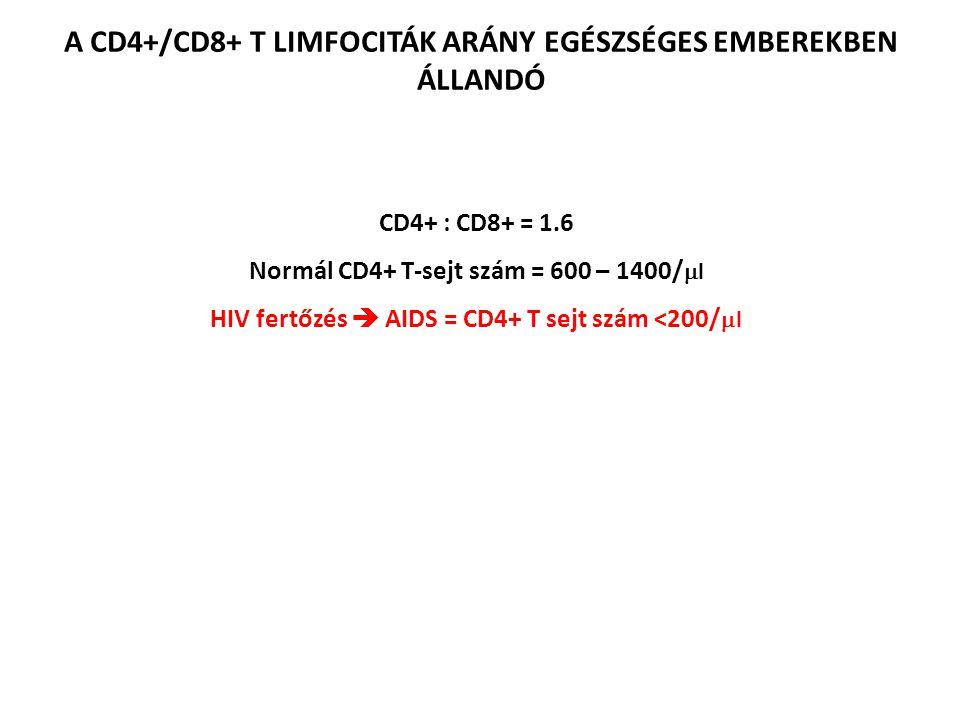 A CD4+/CD8+ T LIMFOCITÁK ARÁNY EGÉSZSÉGES EMBEREKBEN ÁLLANDÓ