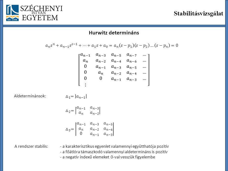 Stabilitásvizsgálat Hurwitz determináns