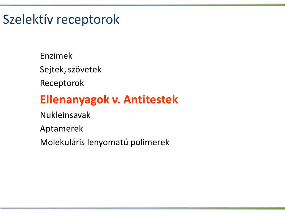 Szelektív receptorok Ellenanyagok v. Antitestek Enzimek