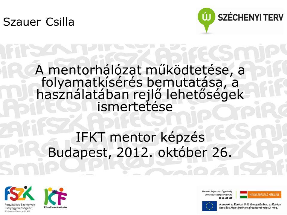 Szauer Csilla A mentorhálózat működtetése, a folyamatkísérés bemutatása, a használatában rejlő lehetőségek ismertetése.