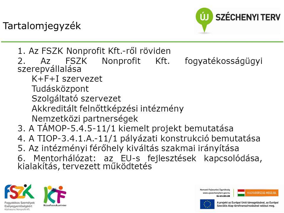 Tartalomjegyzék 1. Az FSZK Nonprofit Kft.-ről röviden
