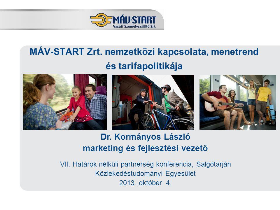 MÁV-START Zrt. nemzetközi kapcsolata, menetrend és tarifapolitikája