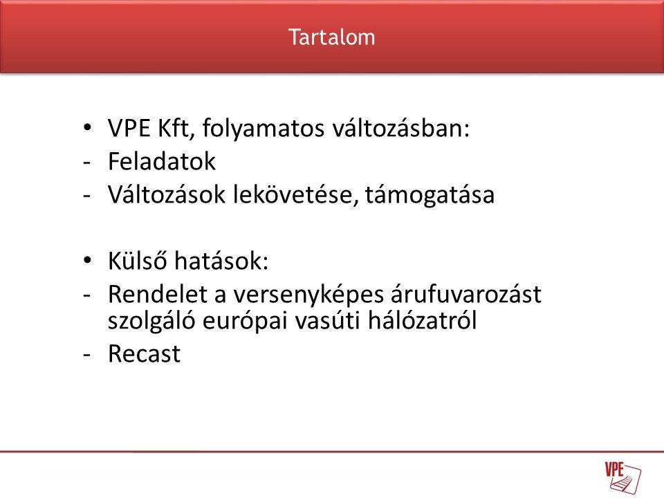 VPE Kft, folyamatos változásban: Feladatok