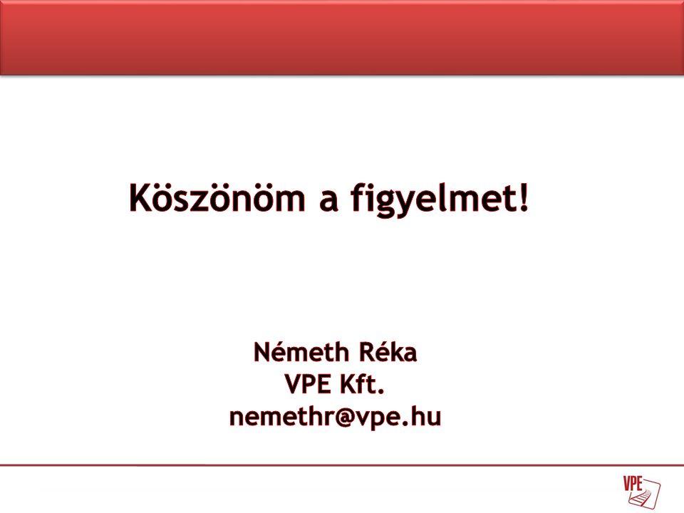 Köszönöm a figyelmet! Németh Réka VPE Kft. nemethr@vpe.hu