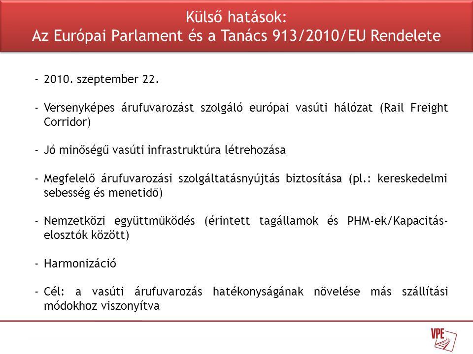 Külső hatások: Az Európai Parlament és a Tanács 913/2010/EU Rendelete