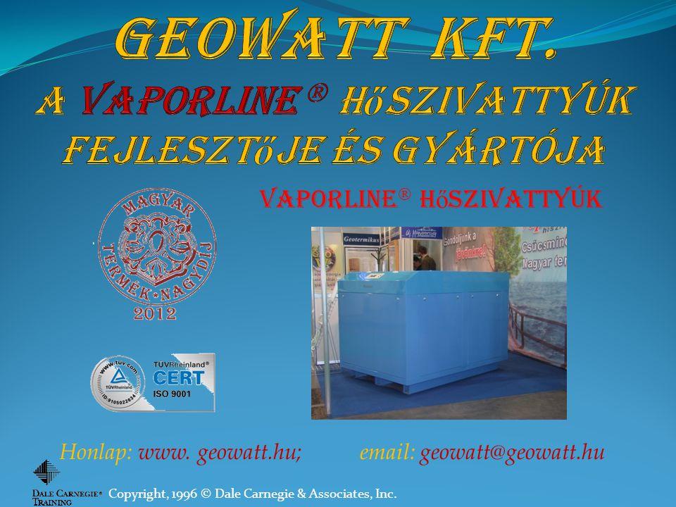 GEOWATT KFT. A Vaporline  hőszivattyúk fejlesztője és gyártója