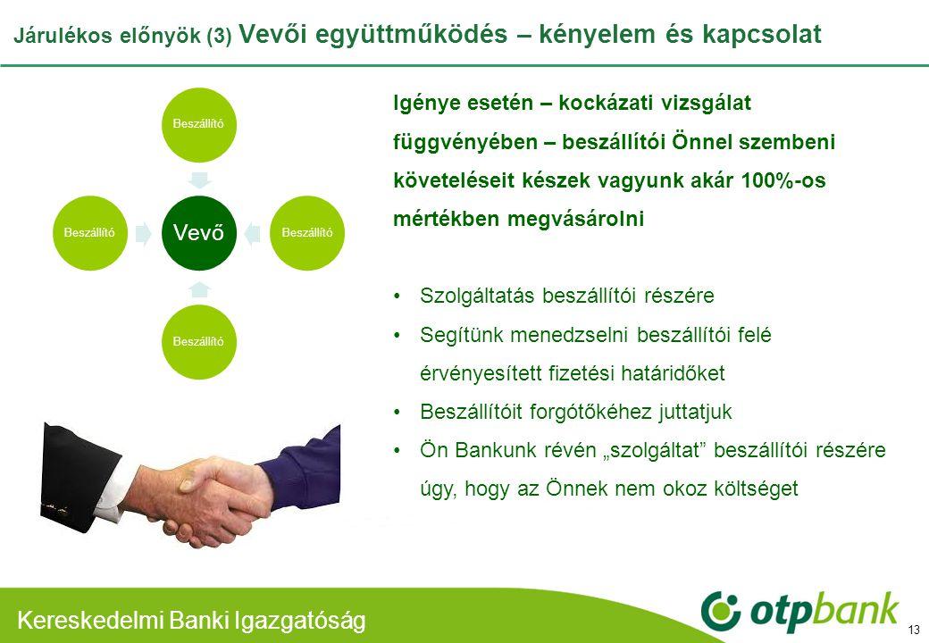 Járulékos előnyök (3) Vevői együttműködés – kényelem és kapcsolat