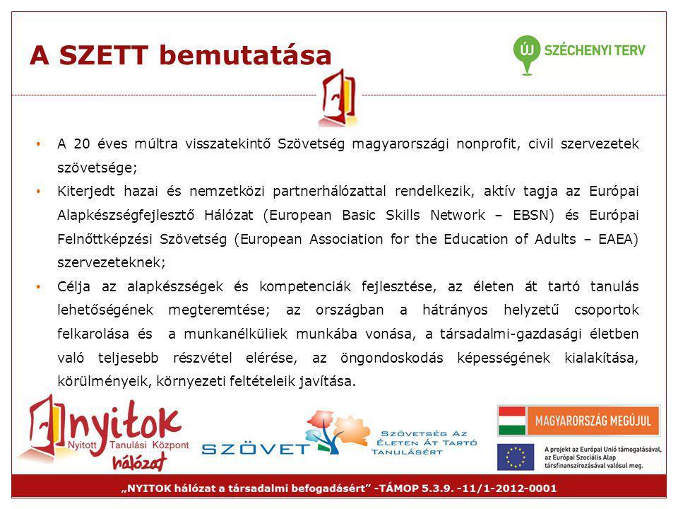 A SZETT bemutatása A 20 éves múltra visszatekintő Szövetség magyarországi nonprofit, civil szervezetek szövetsége;