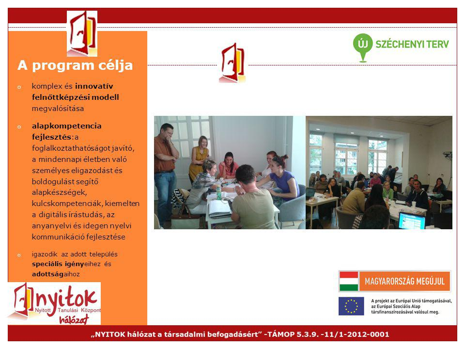 A program célja komplex és innovatív felnőttképzési modell megvalósítása.