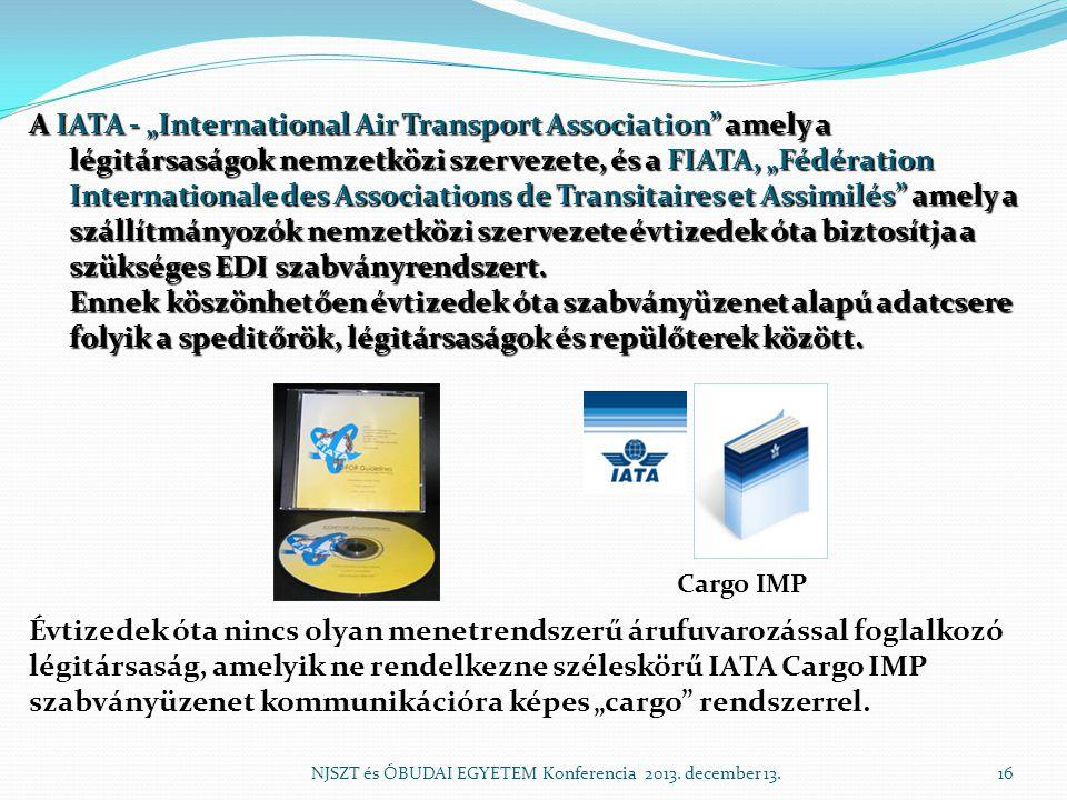 """A IATA - """"International Air Transport Association amely a légitársaságok nemzetközi szervezete, és a FIATA, """"Fédération Internationale des Associations de Transitaires et Assimilés amely a szállítmányozók nemzetközi szervezete évtizedek óta biztosítja a szükséges EDI szabványrendszert. Ennek köszönhetően évtizedek óta szabványüzenet alapú adatcsere folyik a speditőrök, légitársaságok és repülőterek között."""