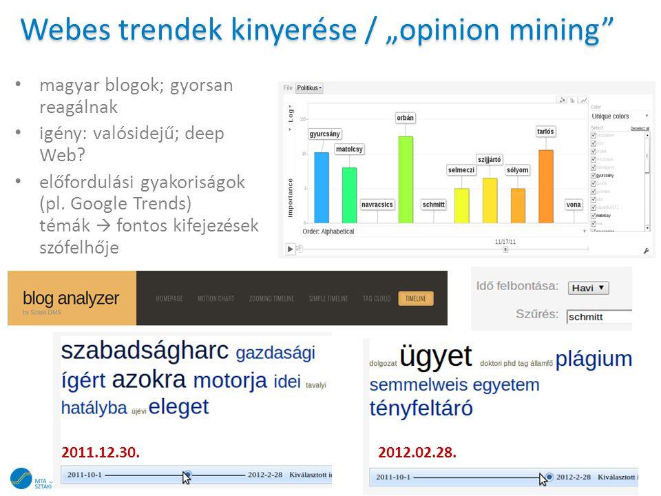 """Webes trendek kinyerése / """"opinion mining"""