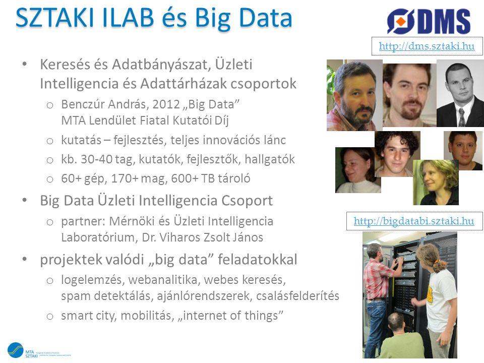 SZTAKI ILAB és Big Data http://dms.sztaki.hu. Keresés és Adatbányászat, Üzleti Intelligencia és Adattárházak csoportok.