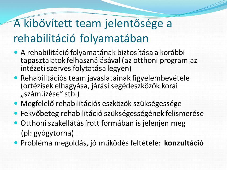 A kibővített team jelentősége a rehabilitáció folyamatában