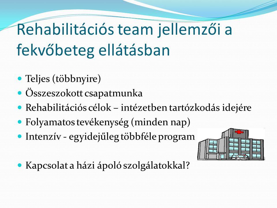 Rehabilitációs team jellemzői a fekvőbeteg ellátásban