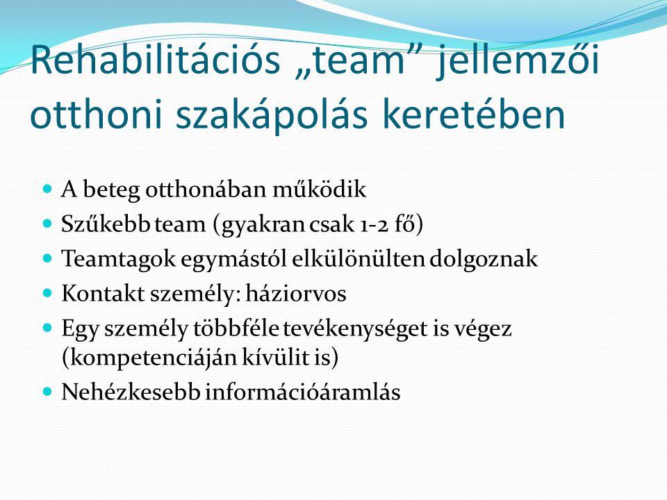 """Rehabilitációs """"team jellemzői otthoni szakápolás keretében"""