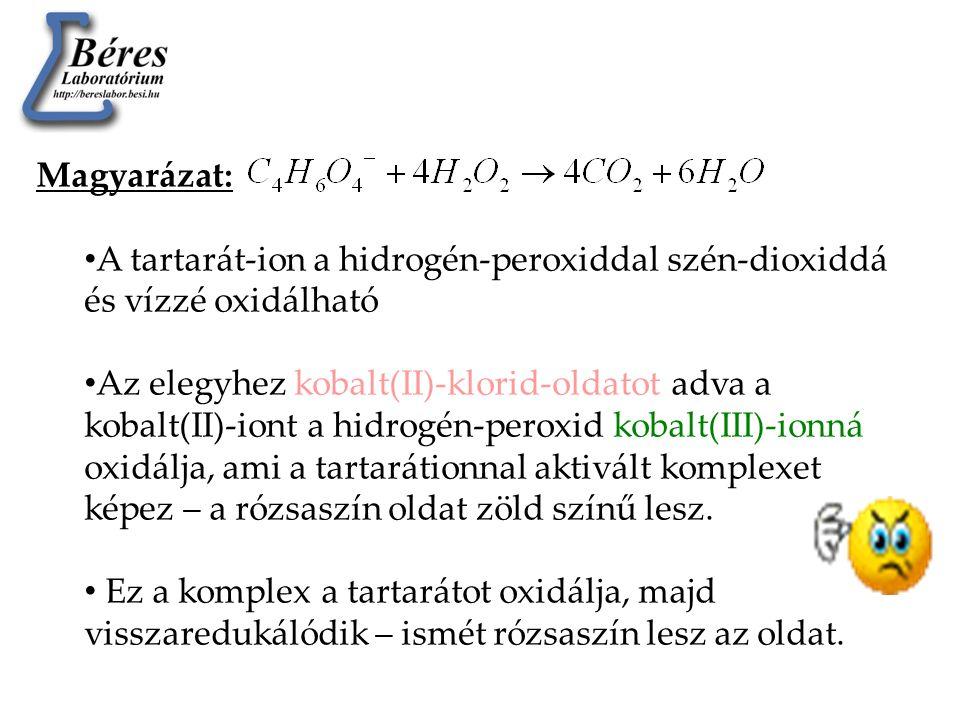 Magyarázat: A tartarát-ion a hidrogén-peroxiddal szén-dioxiddá és vízzé oxidálható.