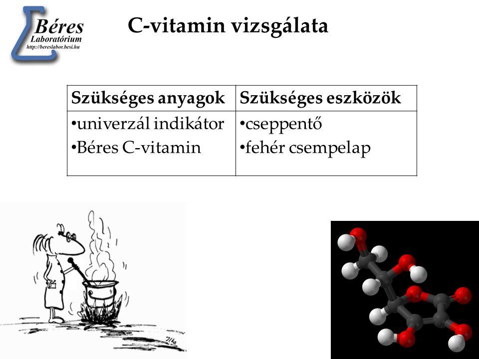 C-vitamin vizsgálata Szükséges anyagok Szükséges eszközök