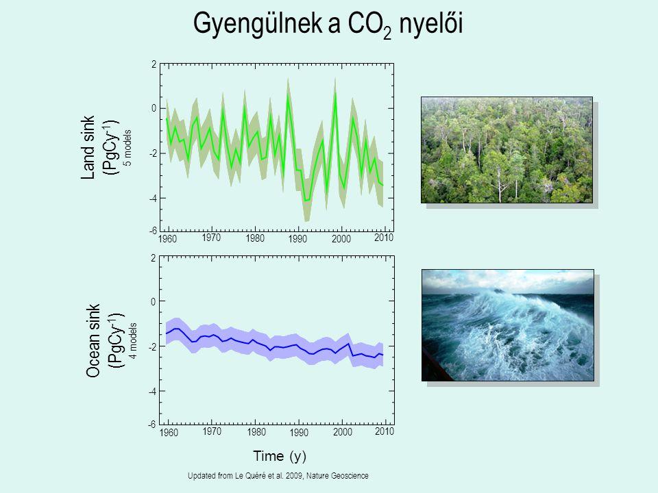 Gyengülnek a CO2 nyelői Land sink (PgCy-1) 5 models