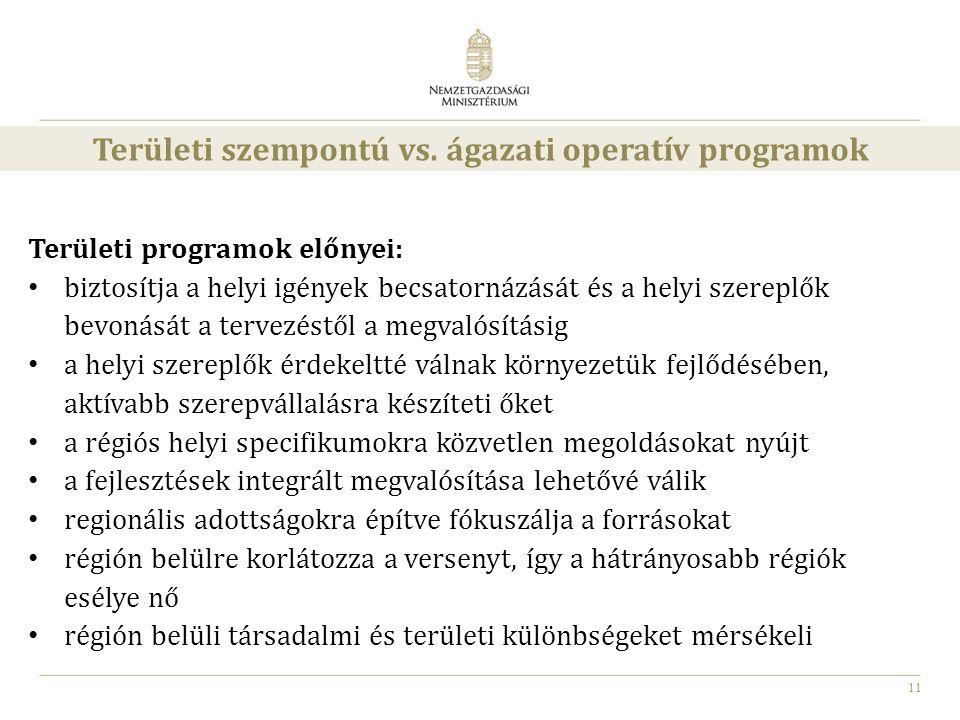 Területi szempontú vs. ágazati operatív programok
