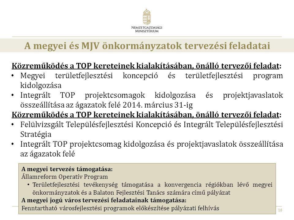 A megyei és MJV önkormányzatok tervezési feladatai