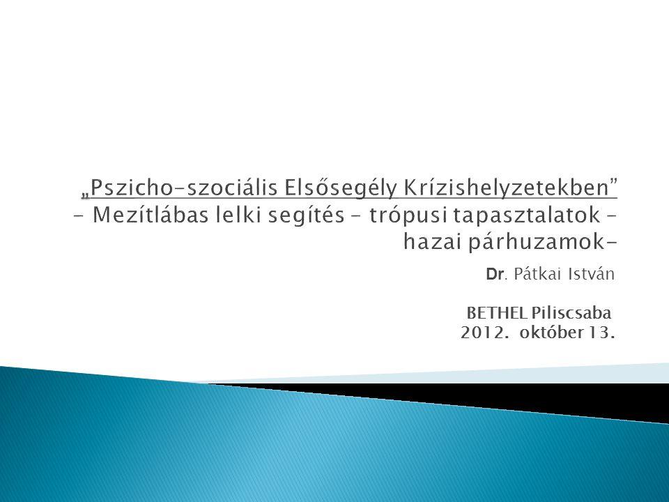 Dr. Pátkai István BETHEL Piliscsaba 2012. október 13.