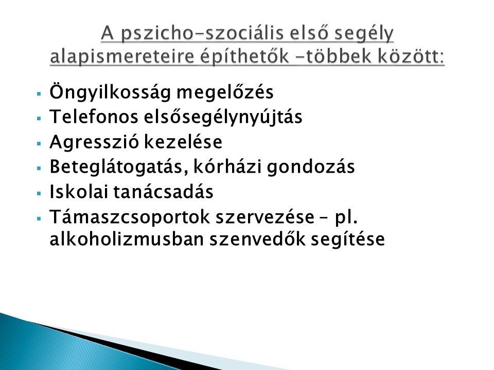 A pszicho-szociális első segély alapismereteire építhetők -többek között: