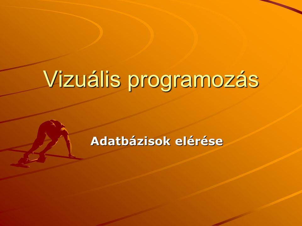 Vizuális programozás Adatbázisok elérése