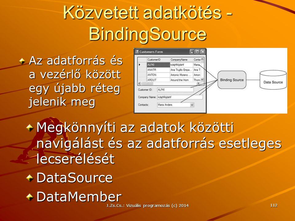 Közvetett adatkötés - BindingSource