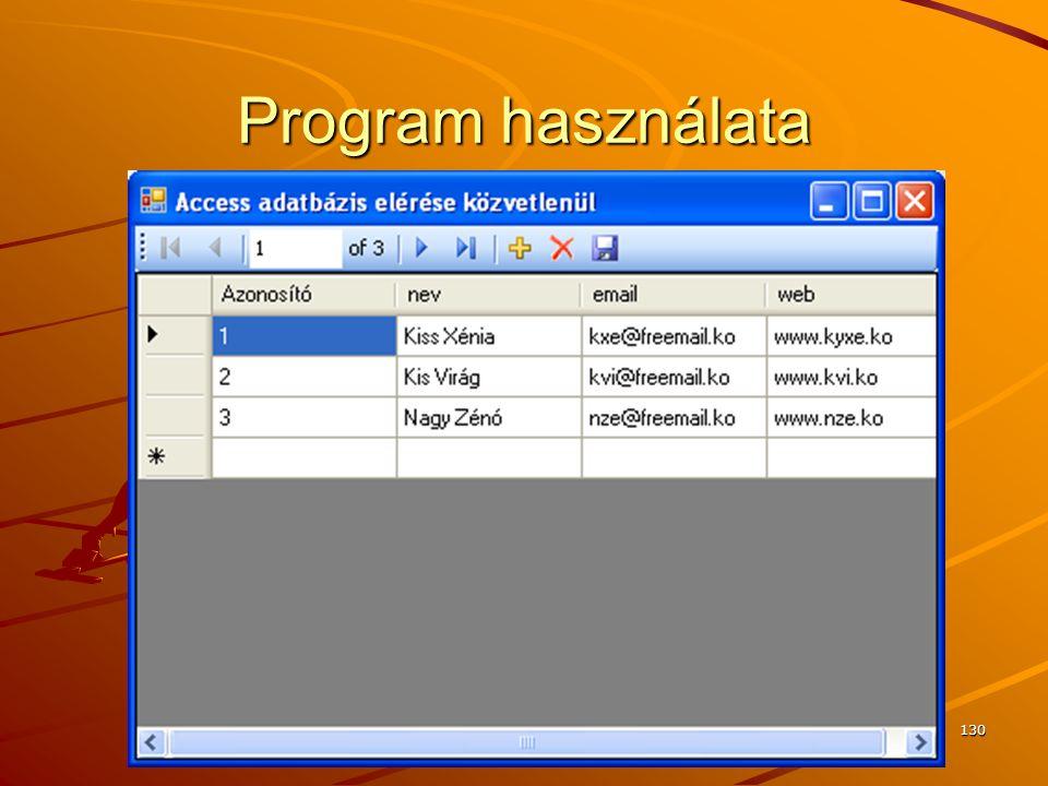 Program használata J.Zs.Cs.: Vizuális programozás (c) 2010