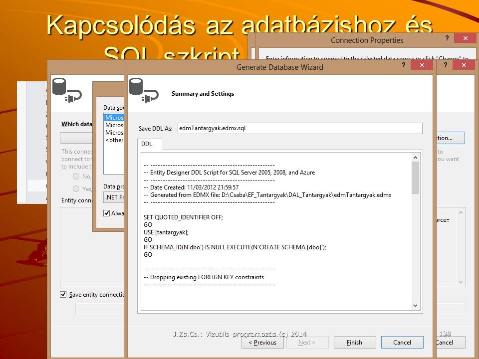 Kapcsolódás az adatbázishoz és SQL szkript generálása