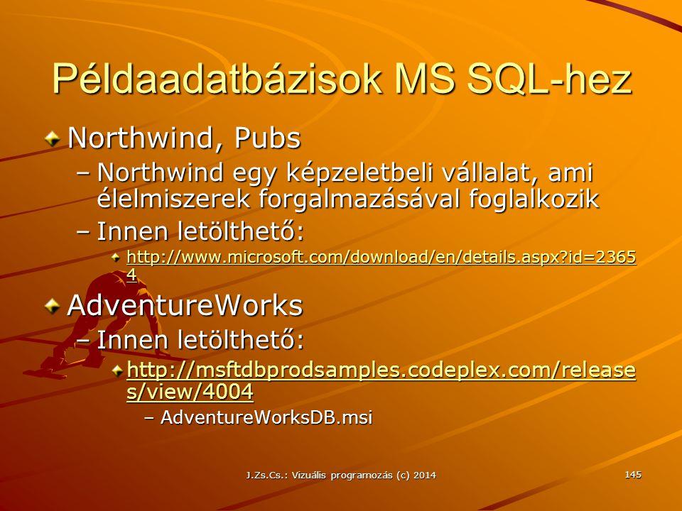 Példaadatbázisok MS SQL-hez