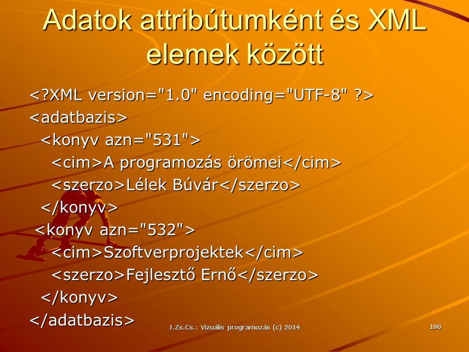 Adatok attribútumként és XML elemek között