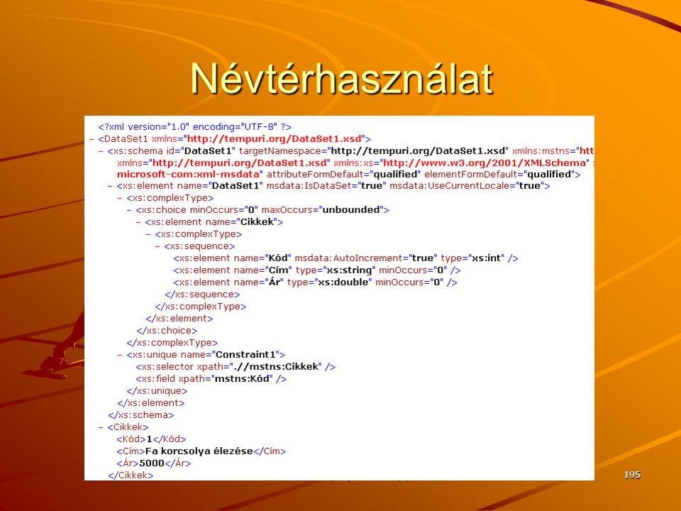 Névtérhasználat J.Zs.Cs.: Vizuális programozás (c) 2010