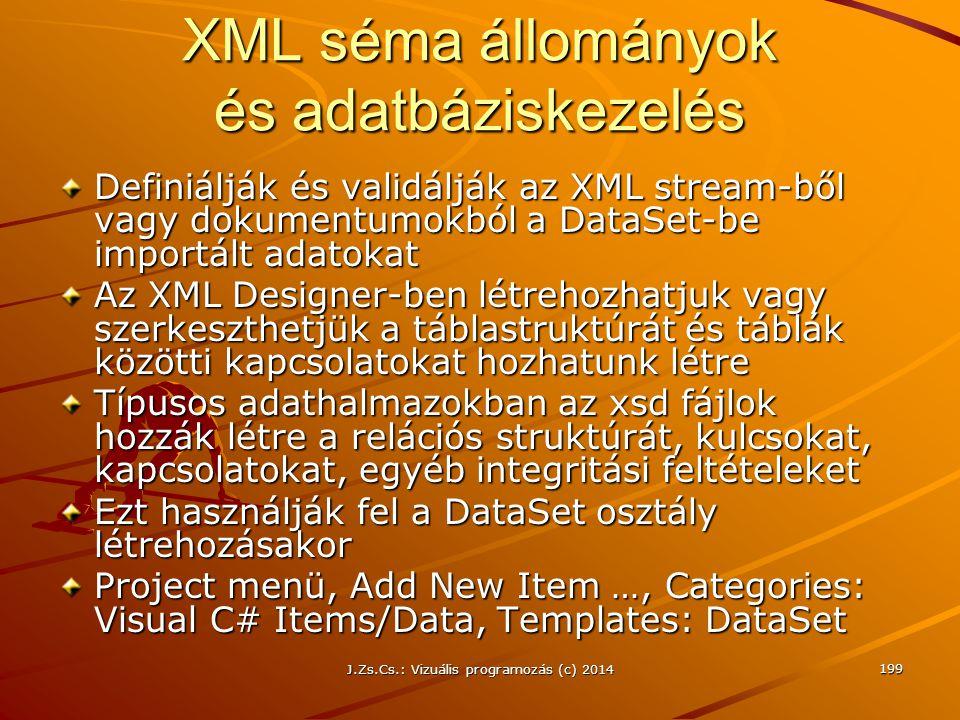 XML séma állományok és adatbáziskezelés