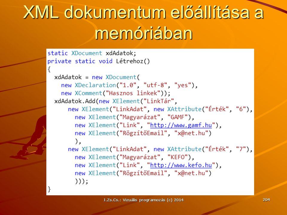 XML dokumentum előállítása a memóriában